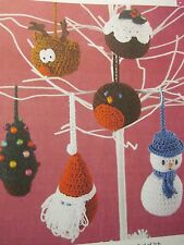 Crochet knitting pattern for Christmas decorations.  Robin, Father Christmas etc