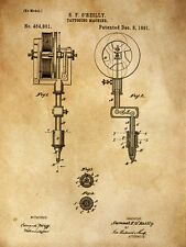 "Vintage Tattoo History Tattoo Machine 1891 Patent  14 x 11"" Photo Print"