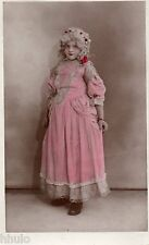 BJ241 Carte Photo vintage card RPPC Enfant déguisement robe reine péruque ancien