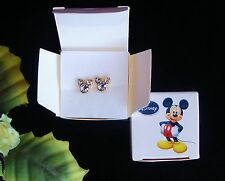 Awwww! Goldtone & Clear Rhinestone Mickey Mouse DISNEY AVON Pierced Earrings!