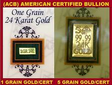 ACB 24k GOLD BULLION 99.99 With Certificates 5 & 1GRAIN BARS COMBO PACK!