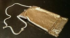 Vintage Whiting & Davis Gold Mesh Purse Handbag with Fringe