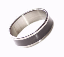 Modern & Simplicity Inspired Black Enamel/ Slim Chrome Band Hand Ring(Zx188)