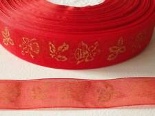 43m x 25mm Patterned Organza Ribbon:#56 Holly & Bells