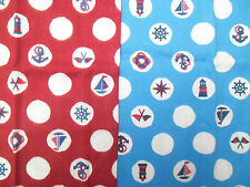 2 Japanese Cotton Fabric Squares 1 Red 1 Blue Nautical Anchor Ship Lighthouse