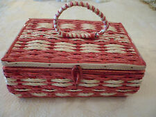 Vintage Sewing Basket w/ Plastic Tray Raspberry Cream Straw Made in Japan Pretty