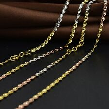 Authentic 18k Multi-tone Gold Necklace 2mm Twist Link Chain 17.7 inch L