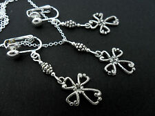 A TIBETAN SILVER  CROSS NECKLACE AND CLIP ON EARRING SET. NEW.