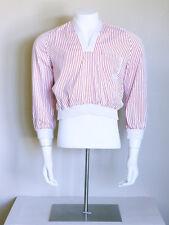vtg 40s 50s pinstripe Gaucho psychobilly jailbird rockabilly Gabardine shirt M