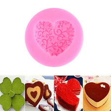 Heart Love Shaped Silicone Chocolate Lace Fondant Cake Mould Soap Mold Decor GE