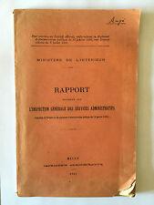 RAPPORT INSPECTION GENERALE DES SERVICES ADMINISTRATIFS 1921 MINISTERE INTERIEUR