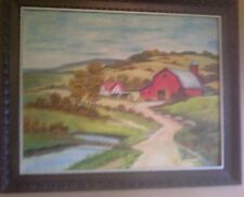Vintage 1969 American Country Farm Landscape Oil Painting Signed Original Wood