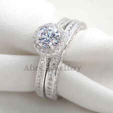 2CT Round White Cz 925 Sterling Silver Wedding Band Engagement Ring Sets Size 8