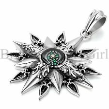 Vintage Compass Pendant Mens Stainless Steel Necklace w/Free Chain 22 Inches