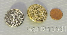 2 vtg French metal GEISHA PICTURE BUTTONS Asian girl parasol Mikado silver/gilt