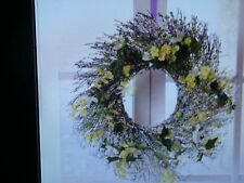 "NEW Spring Floral Wreath W Leaves Yellow Flowers & Berries Wall Decor 18""Dia"