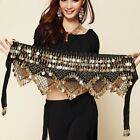 Belly Dance Costumes Triangle Gold Coins Sequins Beads Hip Skirt Scarf Belt Wrap