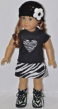 "American Made Doll Clothes For 18"" Girl Dolls Black Top Zebra Heart Skirt Set"