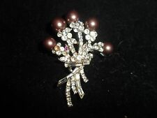 Floral Boquet Dangle Cluster Statement Rhinestone Crystal Pin Brooch Silver Tone