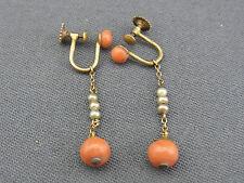 schöne alte Ohrhänger Silber 800/- vergoldet Koralle Perlen ca. um 1860