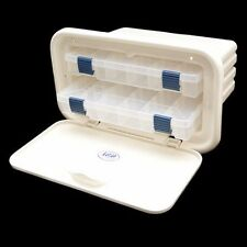 SSi Off White 11 31/2 x 18 x 8 1/2 Inch Plastic Boat Hatch Tackle Box Center
