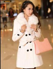 2016 Women's Winter Coat Long Wool Jacket Fur Collar Slim Outwear Trench coat