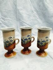 Vintage Set Of 3 Small Handcrafted Pottery Mugs, Made In Japan