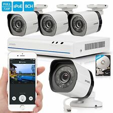 Zmodo® 8CH PoE NVR 4 720P Network Outdoor Camera Home Security System 500GB HD