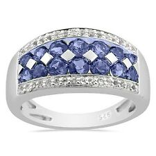 1.32 cts Tanzanite and White Topaz 0.925 Sterling Silver ring