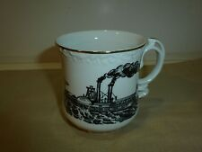 Vintage Mustache Cup, Black/White Steamboat Image, Gold Tone Rim