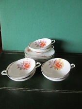 6TASSES a CAFE+SOUCOUPES  PORCELAINE TRANSPARENTE  LIMOGES ANN2ES 50/60 ROSE