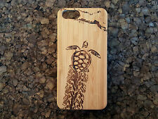 Baby Sea Turtle Case for iPhone 5 5S SE Bamboo Wood Cover Sand Hatch Sea Honu