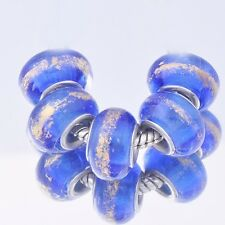 5Pcs GF Silver Sea Blue Gold Crystal MURANO GLASS lampwork european beads