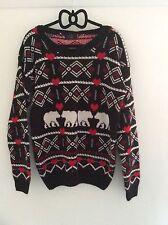 """Missi Ladies Black Polar Bear Print Jumper  Size XL Fits Uk 22-24 42"""" Chest"""