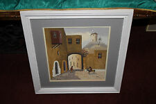 Original Oil Painting-Arabic Middle Eastern Jewish-Old Town Donkey Windmill
