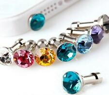 1x Crystal Rhinestone Anti Dust Earphone Plug Cover Stopper Cap Cell Phone 3.5mm