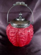Rare Consolidated Beaded Drape Pigeon Blood Red Satin Glass Biscuit Cookie Jar