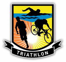 """Triathlon Sport Logo Car Bumper Sticker Decal 5"""" x 5"""""""