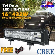 16inch 432W CREE LED Work Light Bar Tri-row Offroad SUV ATV Jeep Driving 4WD UTE
