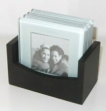 FIFTH AVENUE  BEVELED GLASS PHOTO COASTERS WITH WOODEN CADDY
