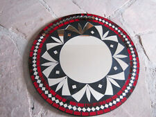 Hand crafted Mosaic Mirror Glass Celtic Sunburst mirror red, black clear 15+""