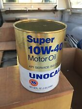 Vintage~~Unocal 76 Super 10W 40 Motor Oil Can Quart~~Gas & Oil Advertising