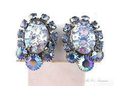 Vintage JULIANA D&E Blue PRESSED GLASS & AB Rhinestone Clip Earrings BOOK PIECE