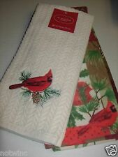 2 St. Nicholas Square Kitchen Dish Towels Cardinals Birds Christmas Red NWT