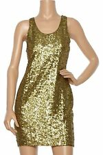 Nwt $495 Alice + Olivia Sequin Tank Top Cocktail Dress Gold Metallic S