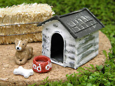 Miniature Dollhouse FAIRY GARDEN Accessories ~ Rustic Dog House with Dog ~ NEW
