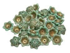 14x5mm Bronze Washed Opaque Mint Green Silk Wide Bell Flower Beads (15) #3887