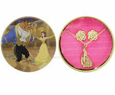NEW Beauty & the Beast Princess Belle ROSE NECKLACE & EARRINGS GIFT SET TIN