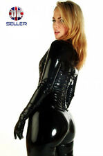 Black catsuit costume cosplay fancy dress catwoman shiny pvc bondage fetish