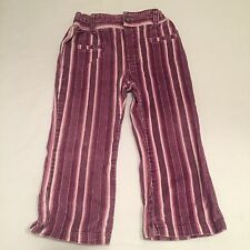 Purple striped corduroy strechy waist trousers baby girls 12-18 Months clothes